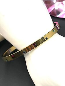 FABULOUS SWAROVSKI 18K GOLD PLATED FINISH MULTICOLOR RHINESTONE BANGLE BRACELET