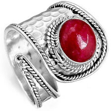 Solid 925 Sterling Silver Ring Ruby Gemstone Handmade Adjustable Size 6-8