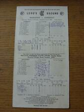 02/08/1969 Cricket Scorecard: Middlesex v Somerset [At Lords] 3 Day Game (score/