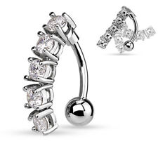 5 CZ Vertical Drop Top Down Belly Navel Ring (316L) Surgical Steel 14g (1.6mm)