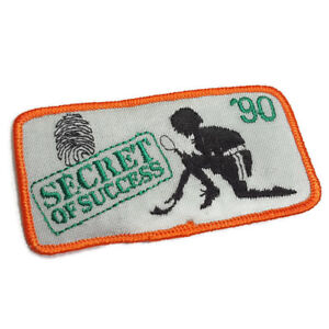 Girl Scout Patch 1990 Secret of Success Spy Detective Orange Gray Long Strip GSA