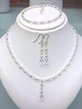 Hecho a mano de cristal y Perlas Collar De Gota De Novia Joyería Conjunto Pendientes Pulsera