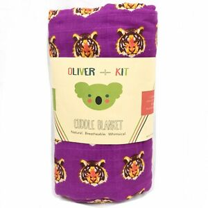 """Oliver & Kit Muslin Cotton Cuddle Wrap Blanket Bohemian Tiger Breathable 47""""x47"""""""