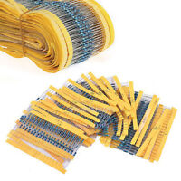 600Pcs 30 Values 1/4W Metal Film Resistors Resistance Assortment Kit Set 1%