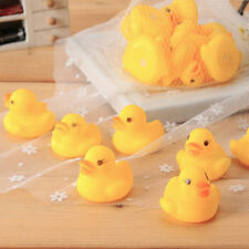 10pcs Baby Bathing Bath Tub Toys Mini Rubber Squeaky Float Duck Yellow UL