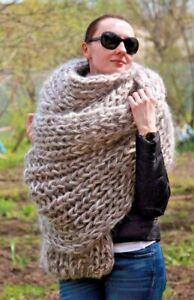 5 strands Premium Longhair Mohair EXTRA LONG SCARF hand knit Beige Men Women