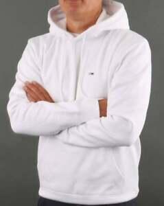 Tommy Jeans Men's Fleece Hoody White - Pullover Sweater Cotton Fleece