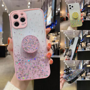For iPhone 12 Pro Max 11 XR XS 7 Bling Glitter Star Stand Holder Clear TPU Case