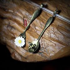 Boucles d`Oreilles Clips Cuillere Abeille Maguerite Original Mariage Cadeau E1