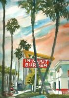 In n Out Ventura : Signed LE Art Print : Sandra Watercolors™ California