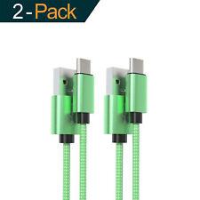 2x 1m USB-C Kabel Grün Ladekabel Fast Charge Datenkabel für Samsung Huawei HTC