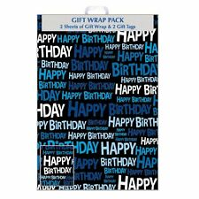 Gift Wrap Pack - Happy Birthday Wrapping Paper - 2 Sheets & 2 Tags F406/E/1