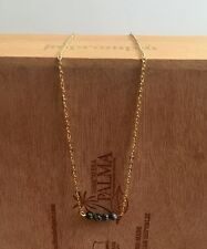 Urban Trend Snowflake Obsidian Bead Bar Gold Plated Chain Minimal Necklace Black