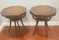 PAIR OF Leather Top Victorian Mahogany Wood  Drum SIDE Tables