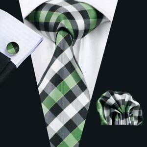 Silk Tie Cufflinks & Handkerchief Tie Clip Gift Box Set Green Black White Check