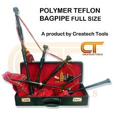 New Teflon Polymer High Quality Scottish Bagpipe, Full Size with Hard Case & Acc