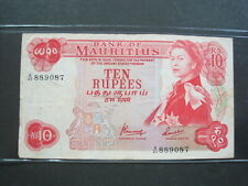 MAURITIUS 10 RUPEES 1967 P31 ISLAND BRITISH QEII 12# CURRENCY BANKNOTE MONEY