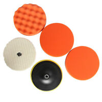 5PCS 7'' 180mm Car Polisher Polish Pads M14 Bonnet Wax Buffing Woolen&Sponge Kit