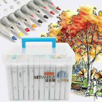 120 Color Set Alcohol Graphic Art Twin Tip Pen Marker Broad Fine Point with Box