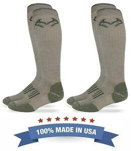 Realtree Mens Outdoor Merino Wool Tall Long Over the Calf Boot Socks 2 Pair Pack