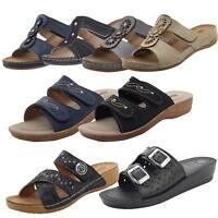 Women Slip on Mules Slider Cushioned Ladies Low Wedge Heel Comfort Sandals Shoes