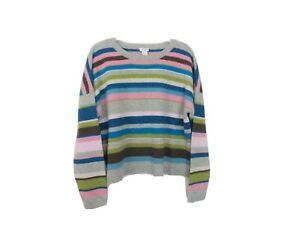 Sundance XL Lambswool Striped Pullover Sweater Crew Neck
