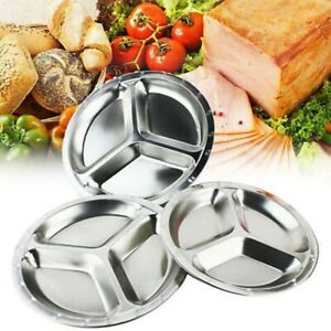 3-Compartments Food Serving Tray Stainless Steel Lunch Dinner Plate Tray 22-26cm