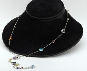 """14K white gold 50.0CT rainbow gemstone extra long 36"""" necklace"""
