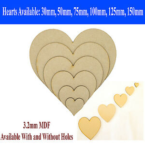 MDF Heart Craft Wooden Shape Blank 10cm