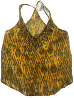 Ecote Urban Outfitters Yellow Tribal Sequined Sleeveless Tank Top Size Small