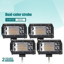 "1/2/4Pcs  5"" INCH LED PODS LIGHT BAR Dual Color Flash Combo AMBER WHITE LIGHT"