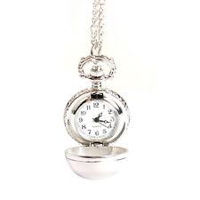 Luxury Vintage Alloy Quartz Necklace Chain Pendant Fob Pocket Block Watch Gift