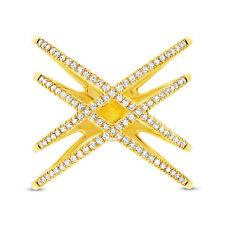 14K Oro Amarillo Redondo con Diamantes de Tendencia X Ring 0.32CT Natural