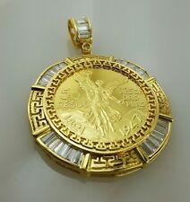 50 peso Mexican coin pendant, necklace centenario Gold Plated Versace cz frame