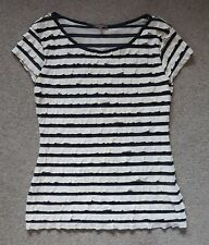 BNWOT PHASE EIGHT BLUE & WHITE STRIPED FRILL TOP CAP SLEEVES SIZE 8