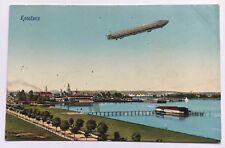 Vintage Postcard Zeppelin over Lake Konstanz Bodensee Germany Div Back