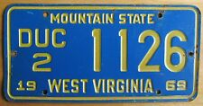 West Virginia 1969 USED CAR DEALER License Plate # DUC2 1126