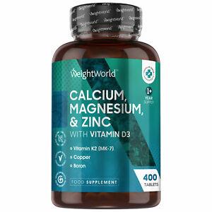 Calcium Magnesium Zinc & Vitamin D 400 Tablets for Immune & Bones, Hairs, Joints