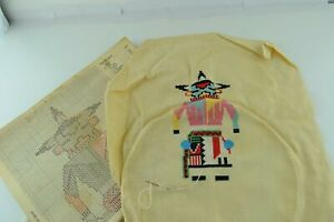 Kachina Doll Partially Done Incomplete Cross Stitch Needlepoint Embroidery Vtg