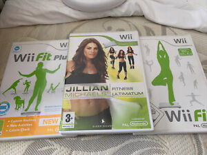 nintendo wii fit balance board and 3 games