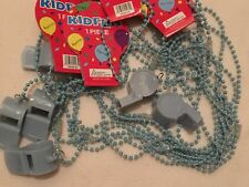 Blue Whistle & Lanyard Party Favors Lot 12 New Year Suplies Sport Soccer Fiesta