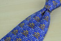 Salvatore Ferragamo Royal Blue Yellow Squiggly Whimsical Silk Tie Made Italy
