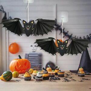 Holiday Indoor Outdoor Paper Bat Halloween Decoration Hanging Props Flying Bat