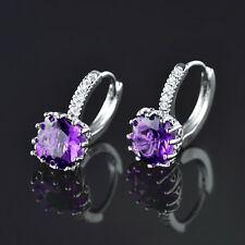HUCHE Purple Amethyst Crystal 18K Silver Gold Filled Lady Wedding Party Earrings