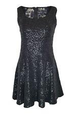 ALICE + OLIVIA Black Sequin Lace Back Fit and Flare Mini Dress (8)
