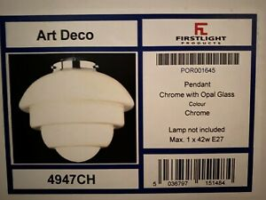 Art Deco style ceiling light. Firstlight 4947CH. Boxed. Unused.