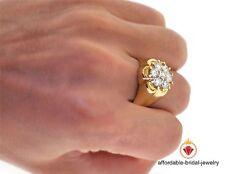 1.50Ct 14K Yellow Gold Mens Diamond Engagement Wedding Flower Pinky Ring Band