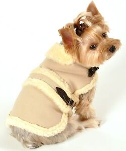 Romy and Jacob Canada Faux Shearling Winter Dog Coat Ivory