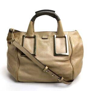 CHLOE Leather Ethel Shoulder Bag 2Way Hand Bag Beige