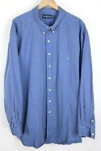 Ralph Lauren Mens sz 4XLT Tall Blue Classic Fit Long Sleeve Shirt Green Pony